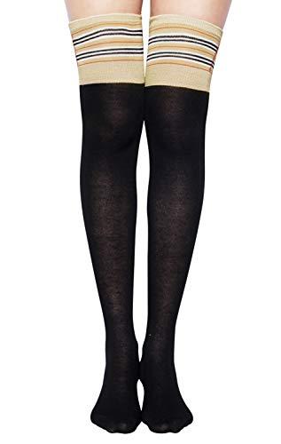 Chalier Womens Long Socks Striped Thigh High Socks Cotton Over the Knee Socks Boot Stockings Leg -