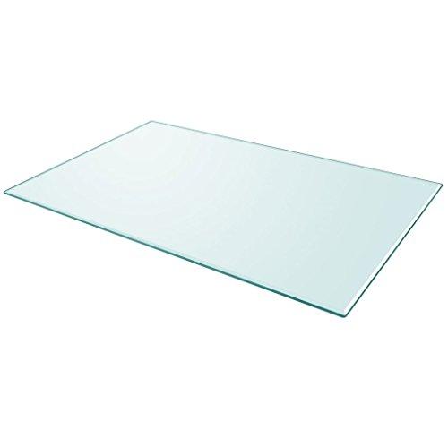 Festnight Tablero de Mesa de Cristal Templado Cuadrado - Color de Transparente Material de Vidrio, 1000x620