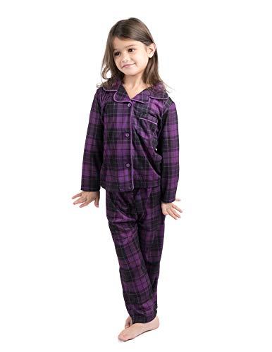 Leveret Kids Pajamas Flannel Pajamas Boys & Girls 2 Piece Christmas Pajama Set Purple/Grey Plaid 8 Years