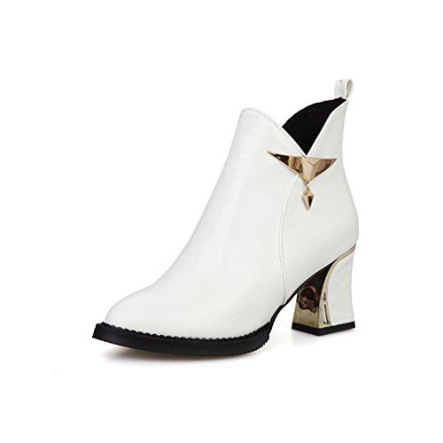 Womens Block Metal stivaletti Bianca fino tacco zip Toe punta Xianshu scarpe 0qAwd0