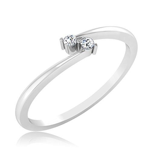 IskiUski 14KT White Gold and American Diamond Ring for Women