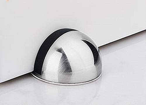 Modern Soft-Catch Mute Door Holder Doorstop for Hotel Home Restaurant Dome Shaped Stainless Steel Brushed Satin Nickel Door Stop Silver Door Stopper Ground Mount 2Pack Magnetic Door Stop