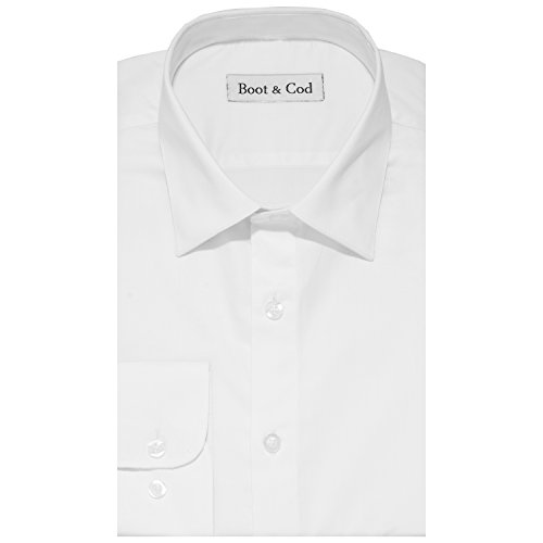 Boot & Cod Men's White Modern Fitted Long Sleeve Button Down Linen Shirt - Large by Boot & Cod
