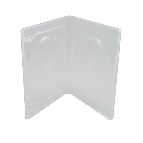 Dvd 14mm (Maxtek 14mm Clear Standard Double Capacity DVD Case with Outter Clear Sleeve, 25 pieces pack)