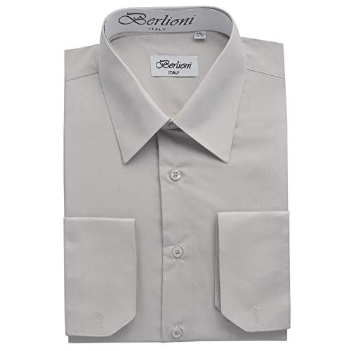 (Berlioni Italy French Convertible Cuff Solid Mens Dress Shirt - Silver - M - 34/35)