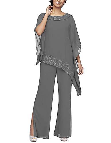 Women's Elegant Chiffon 3 Pieces Pant Suits Set Mother of The Bride Dresses with Outfit Wedding Party Plus Size(Grey,US18 Plus) ()