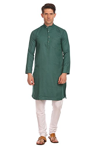 Wintage Men's Poly-Jaquard Bandhgala Festive and Casual Green Kurta (Poly Set Green)