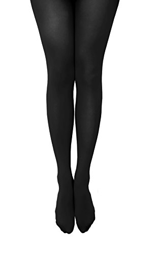 [NovaLava] Womens Semi Opaque 80 Denier Footed Pantyhose Tights Black, One Size