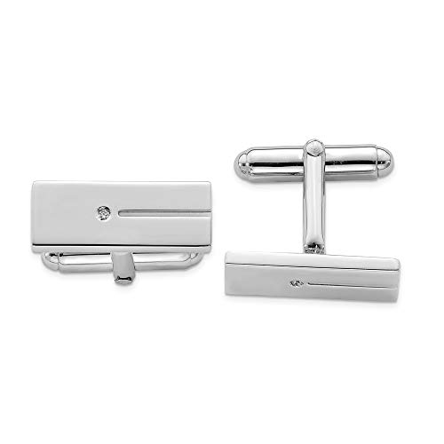 925 Sterling Silver Men's Cubic Zirconia Rectangle Cuff Links