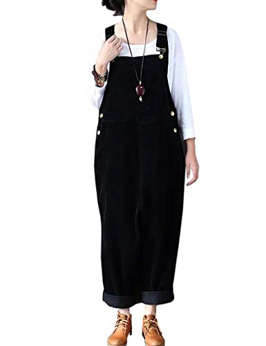 Flygo Women's Vintage Baggy Wide Leg Drop Crotch Corduroy Bib Overalls Jumpsuits Pants (US 8-14, Black)