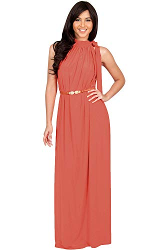 KOH KOH Plus Size Womens Long Halter Sleeveless Sexy Summer Belted Evening Maxi Dress, Coral/Pink Peach 2XL 18-20
