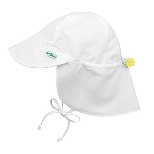 i play. by green sprouts Baby UPF 50+ Sun Protection Flap Hat, White, 9-18 months