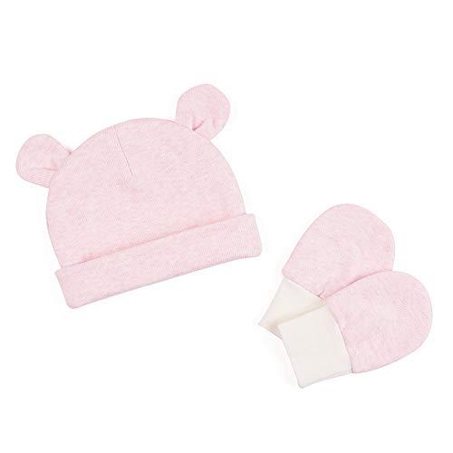 (Zsedrut Baby Boys' Girls' Cotton Cap and Scratch Mitten Set Newborn Hat Cotton Gloves (Pink))