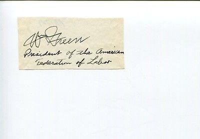 William Green Afl American Federation Of Labor Leader Rare Signed Auto