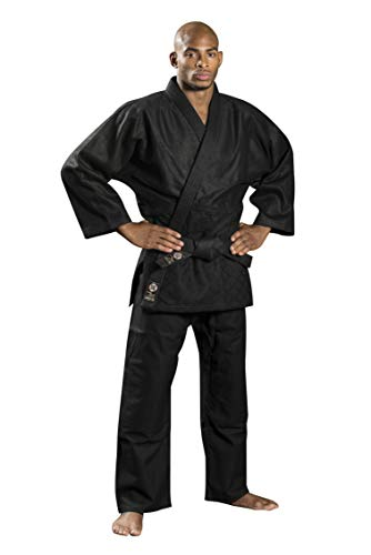 Ronin Brand Black Judo/Ju-Jitsu Uniform - Martial Arts Gi for Kempo, Kendo, BJJ, Karate, Grappling, Aikido, Aiki-Jujitsu (7) Double Weave Judo Uniform