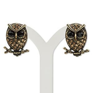 - Antique Gold Pewter Owl Earrings w/ Topaz Black Rhinestones