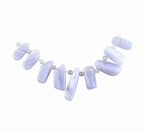 Semi Agate Stone Precious (JCGJ Semi Precious Stones,1 Set Blue Agate Stone Pendant Bead for Jewelry Making)