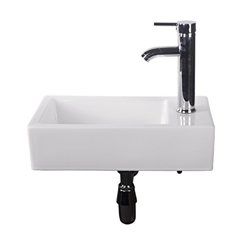 - Walcut Bathroom Wall Mount Rectangle Corner Sink White Porcelain Ceramic Vessel Sink & Chrome Faucet Combo
