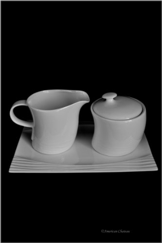 Modern 4pc Coffee Porcelain White Covered Sugar Bowl and Creamer Set with -