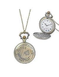 Tangyongjiao Relojes fashionalbe Patrón de Naipes, Reloj de Bolsillo Impermeable de Cuarzo, aleación de Zinc