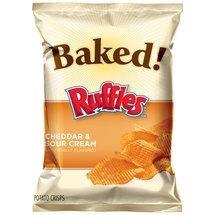 Frito Lay Ruffles, Baked Cheddar & Sour Cream Potato Cris...