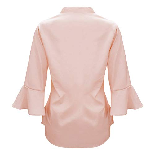 Blouse Couleur Blouse Tops Manche Grande Taille Chemisiers Solide et Casual Femme Femme Shirt Weant Col Chemise Blouses Femme Longue Rose Shirt Tee V 4PSZqw0n