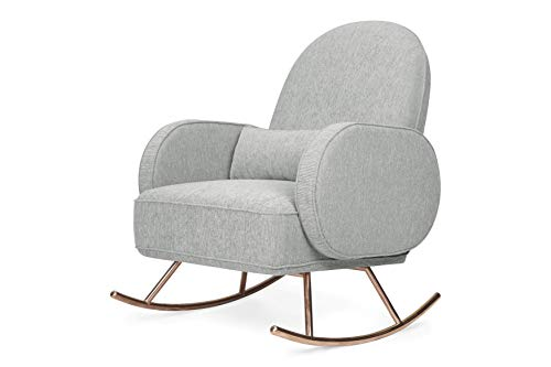 Nursery Works Compass Rocker in Light Gray Weave with Rose Gold Legs