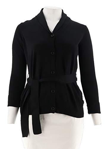 Liz Claiborne Women Clothing - Liz Claiborne NY Button Front Cardigan Belt A268714, Black, M