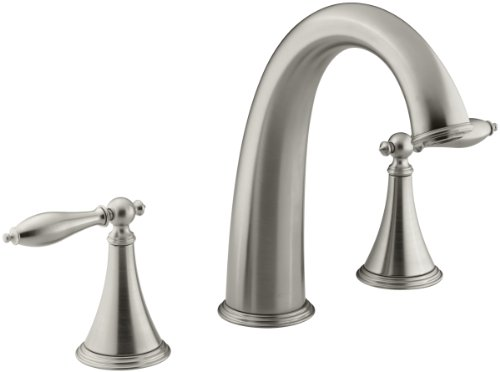 KOHLER K-T314-4M-BN Finial Traditional Deck-Mount High-Flow Bath Faucet Trim, Vibrant Brushed Nickel