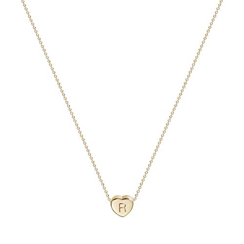 Valloey Tiny Gold Initial Heart Necklace, 14k Gold Filled Delicate Cute Dainty Charm Initial Alphabet Letter Love Heart Choker Necklaces for Women Child Kids Girls Personalized ()