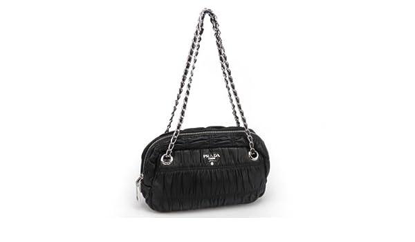 Prada Black Gaufre Nappa Leather Shoulder Bag BT0802  Handbags  Amazon.com d1d759002f