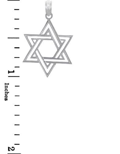 10 ct 471/1000 Charme Juive - Double Or Blanc etoile de David Pendentif