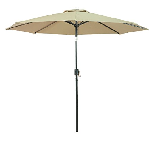 Furniture Umbrella (Balichun 9 Ft Aluminum Patio Umbrella Outdoor Table Market Umbrellas with Push Button Tilt and Crank, Safety Bolt,8 Aluminum Ribs (Beige))