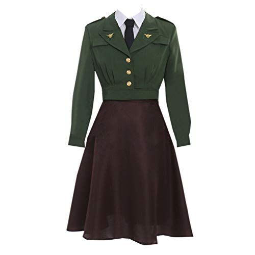 AGLAYOUPIN Anime Women Agent Cosplay Costume Outfit Suit Dress Halloween (S) Green