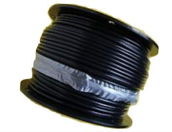 Black Nylon Coated Galvanized Cable, 1/8'' Coated to 3/16'' Diameter, for Fitness Machines: 50 ft, 100 ft, 250 ft and 500 ft (100 ft Reel)