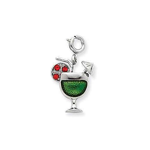 Jewelry Stores Network Enameled Martini Glass Charm In 925 Sterling Silver 18x13mm