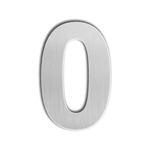 QT Modern House Number - EXTRA LARGE 10 Inch - Brushed Stainless Steel (Number 0 Zero), Floating Appearance, Easy to install and made of solid 304