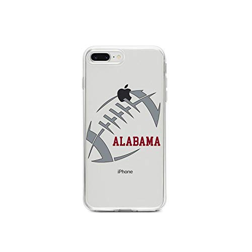 ❥ DistinctInk Clear Shockproof Hybrid Case for iPhone iPhone 7 Plus / 8 Plus - TPU Bumper, Acrylic Back, Tempered Glass Screen Protector - Alabama Football - Crimson, Gray orange iphone 7 plus case 1