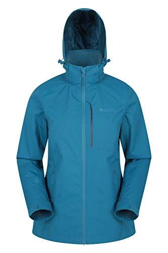 Mountain Warehouse Rainforest Womens Jacket -Waterproof Rain Coat, Mesh Lining, Packaway Hoodie, Pockets, Adjustable Hem Jacket -for Walking, Travelling & Camping