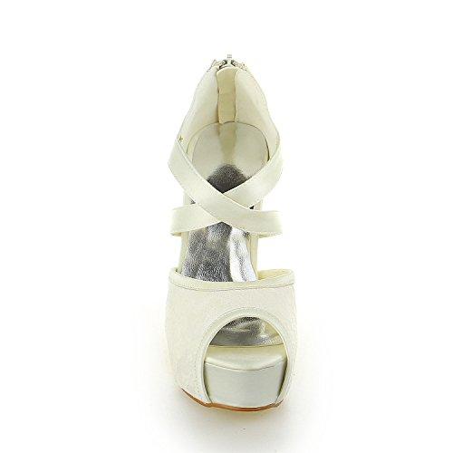 Peep Scarpe Pompe Beige Satinata Tacco Spillo 20129 Piattaforma Toe Da Cerniera Sposa A Jia Donna XqBHBw