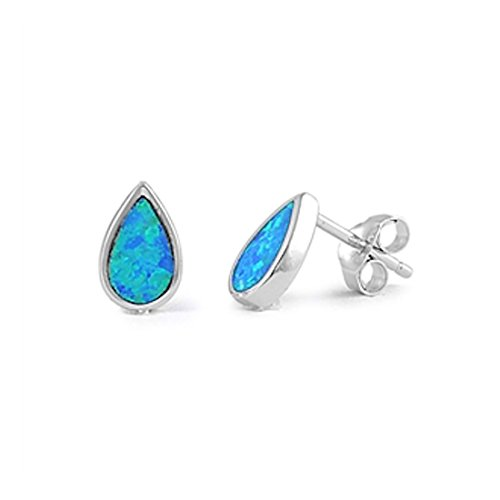 Solitaire TearDrop Stud Post Earring Pear Shape Created Blue Opal 925 Sterling ()