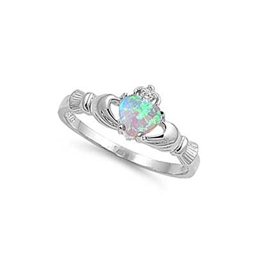 ALL NATURAL GENUINE - 9MM 2ctw Sterling Silver OCTOBER FIRE WHITE OPAL HEART BIRTHSTONE Royal Claddagh Celtic Irish Ring-SIZE 2-13 (.925 Italian Sterling Silver, 7) (.925 Italian Sterling Silver, 7)