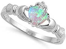 ALL NATURAL GEMSTONE 9MM Sterling Silver OCTOBER FIRE WHITE OPAL HEART BIRTHSTONE Royal Claddagh Celtic Irish Ring-SIZE 2-13
