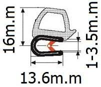 Puerta de goma sello horizontal 0,62/bulb altura x 0.039-0.137/agarre gama x 0,53/U altura