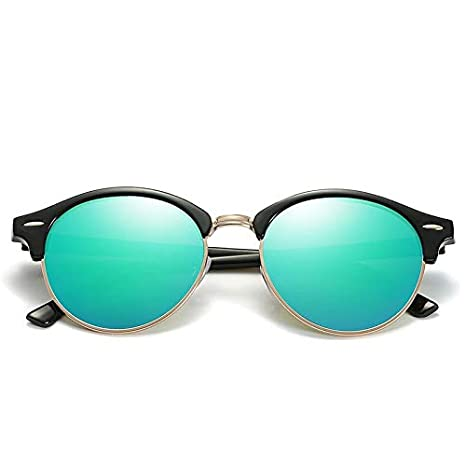 df3fbd97b4 Amazon.com   AAMOUSE Sunglasses New Polarized Round Sunglasses Mens Womens  Designer Club Round Glasses Classic Sun Glasses Driving Semi Rimless Eyewear  ...