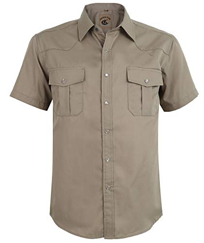 Coevals Club Men's Button Down Solid Short Sleeve Work Casual Shirt (Khaki #3, S)]()