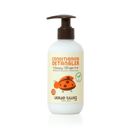 Little Twig All Natural, Hypoallergenic Conditioning Detangler with an Organic Blend of Tangerine, Lemon, and Rosemary, Happy Tangerine Scent, 8.5 Fluid Oz