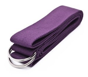 Cosmos ® Cotton Yoga Accessories /Mat Strap with D-Ring for Pilates Stretch Exercises Aerobics to Extend Reach Grasp Limbs (Purple)