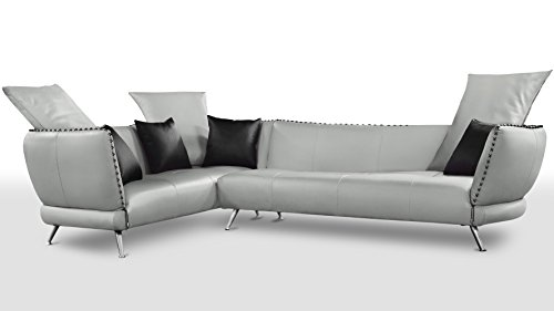 Zuri Furniture Modern Vitali Light Grey Microfiber Leather Sectional - Left Corner