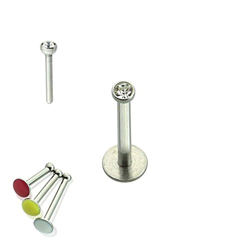 Press Fit Threadless Push-in 316L Surgical Steel Labret With Soft Enamel Back For Comfort (Sold Per Piece) (Fit Labret Push)